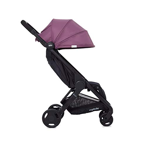 Ergobaby Metro Lightweight Buggy Stroller Pushchair with Reclining Function Model 2020, 6 Months up to 22 kg Toddler (Plum) Ergobaby A stroller that knows no limits. The Ergobaby Metro City Baby Stroller is lightweight, ultra-compact, and can easily fit into a small car boot and in most aircraft overhead bins. An ideal baby and infant travel system. NEW - high-quality wheel bearings for a pleasant ride and reinforced load-bearing capacity of up to 22 kg. More robust sun-shade canopy, padded handle, strap, parking brake, large storage basket for bags and shopping. Baby comfort without compromises – adjustable leg rest, very flat reclining surface, 25 mm multi-zone padding for a highly comfortable seat, which can rarely be found in compact sports strollers. 5