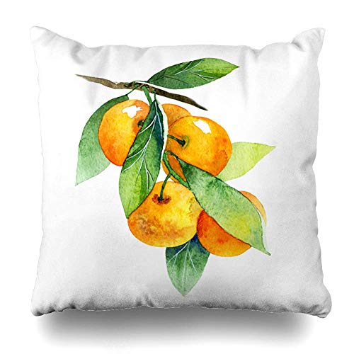 N / A Throw Pillow Cover Square Inches Watercolor Fruit Diet Ripe Yellow Tree Health Mandarin Branch Cover Tasty Nature Orange Food Drink Decorative Pillowcase Home Decor Cushion Pillow Case