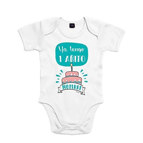SUPERMOLON Body bebé algodón Ya tengo un añito 12 meses Blanco Manga corta