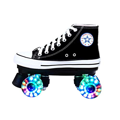 ZXSZX Lienzo Alto Skate Rolling Shoes Street Roller Rollerskates Four Roller Patines LED Classic Scooter, Zapatos Pequeños, Adolescentes Y Adultos,Schwarz-EU:37
