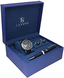 لافينا ساعة رسمية رجال انالوج بعقارب جلد - L383883