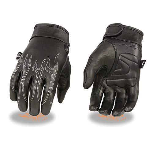 Milwaukee Leather SH820 Men's 'White Flames' Leather Cruising Gloves with Gel Palm - X-Large