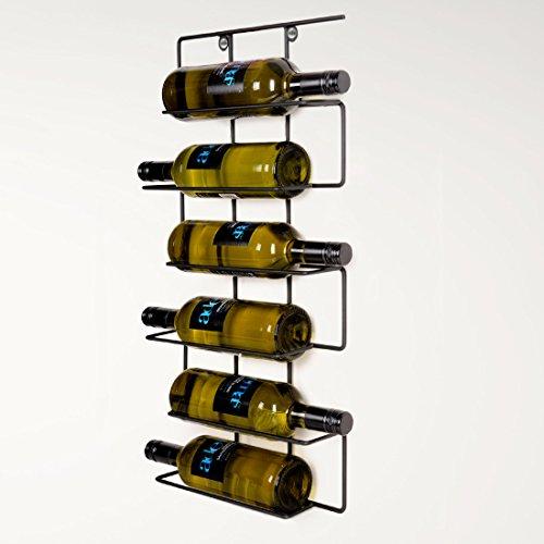 Flaschenregal/Wand-Weinregal WALLIS, aus Metall, schwarz pulverbeschichtet, für 6 Flaschen - H 63 x 32,5 x T 8 cm