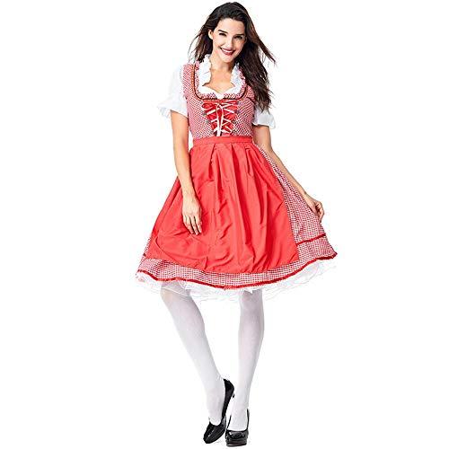 Erfhj Beer meisje kostuum vrouwen meisje rok plaid schort jurk meid heks kostuum rok kostuum dame