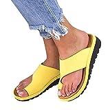 RXDZ Sandalias Correctivas Sandalias Correctoras de Juanetes Ortopédicos Zapatos de Cuero de PU para Mujer Zapatos de Corrección de Punta Gruesa Casual para Mujer de Fondo GruesoC-36