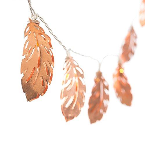 Omika Exclusive Rose Gold en forme de plume cuivre métal LED guirlandes à piles - 6.8Ft 10 LED lumières de fées pour chambre à coucher, intérieur, mariage, Patio (blanc chaud)