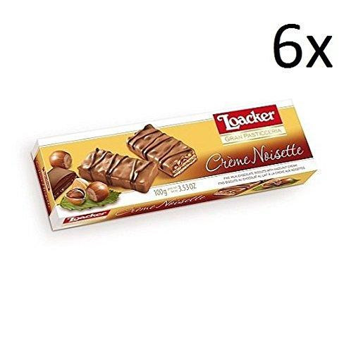 6x Loacker Crème Noisette Schoko Würfel riegel praline kekse Waffeln 100g