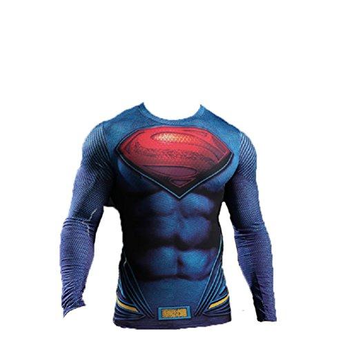 Camiseta de mangas largas Samanthajane Clothing Born2Ride, estilo superhéroe «el Hombre de acero», para uso diario/disfraz/gimnasio/ciclismo (L)