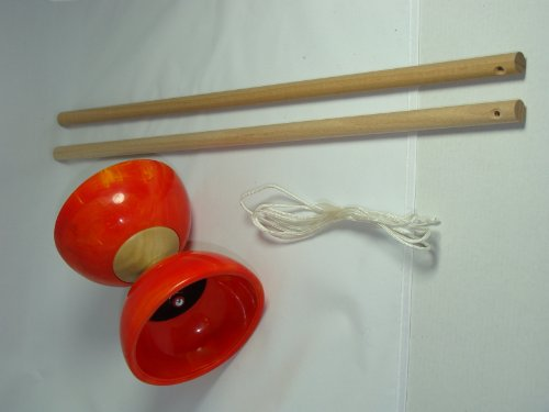 Diabolo orange en caoutchouc et baguettes en bois, artisanat Francais, finition excellente