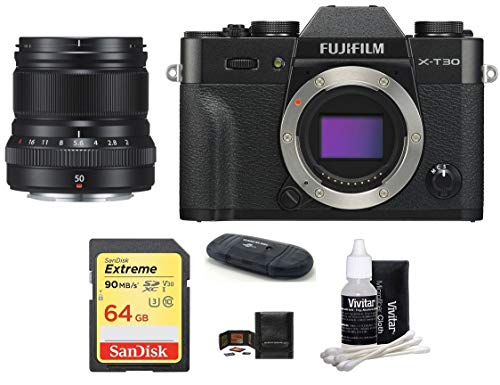 Read About FUJIFILM X-T30 Mirrorless Digital Camera Body (Black) + XF 50mm f/2 R WR Lens (Black) Bun...