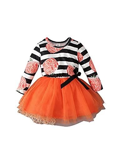 YILEEGOO Vestido de Halloween de 1 pieza para niñas pequeñas, con estampado de calabaza/flores y falda de tutú, naranja, 12-18 Meses