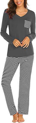 Pijama Mujer De 2 Piezas con Manga Corta Pantalon Largo Ropa De Dormir Algodón Nightwear Elegante Camisetas + Pantalones (Z-Gris, L)