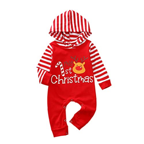 Newborn Infant Baby Boy Girl Unisex My 1st First Christmas Outfit Red Striped Hoodie Romper Reindeer One-Piece Playsuit Jumpsuit Bodysuit Hooded Pullover Fall Winter Xmas Clothes Overall Red 3-6M