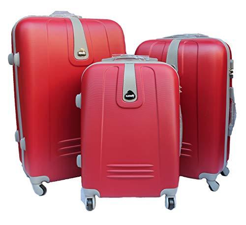 R.Leone Valigia da 1 pezzo Fino a Set 3 Trolley Rigido grande, medio e bagaglio a mano 4 ruote in ABS 188 (Rosso, L Grande)