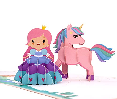 MOKIO® Pop-Up Karte für Kinder – Prinzessin & Einhorn – 3D Geschenkkarte zum Geburtstag, als Gutschein oder für Geldgeschenke, handgefertigte Klappkarte mit Umschlag