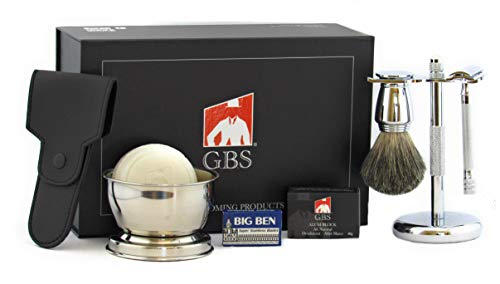 GBS Shaving Gift Set with Made in Germany MK 23C Long Handle Double Edge Safety Razor Alum Block, Bowl with Shaving Soap, Badger Bristle Brush + Blades Best Wet Shave Gift Kit Set