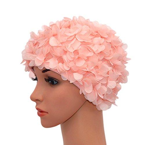 Medifier Gorro de natación vintage de encaje floral pétalo retro estilo gorras de baño para las mujeres rosa