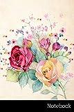 Notebook: Flor, Floral, Fondo, Frontera Cuaderno / Diario / Libro de escritura / Notas - 6 x 9 pulgadas (15.24 x 22.86 cm), 150 páginas, superficie brillante.