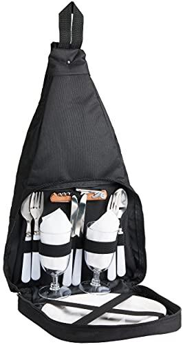 Brubaker Picknickrucksack für 2 Personen Schwarz 28 × 45 × 15 cm - mit Kühlfach