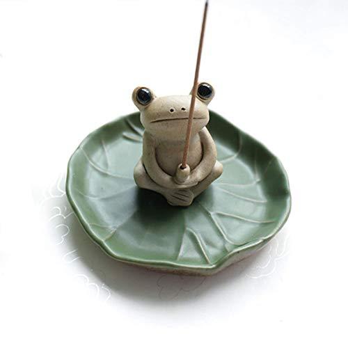 None/Brand Handmade Ceramic Incense Holder, Mini Frog Incense Stick Holder...