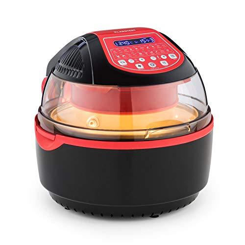 Klarstein VitAir Turbo S Freidora sin aceite - Freir, asar, tostar, 1400W, 10L, 20 programas, Temperatura 50-250 °C, Pantalla LCD, Bloqueo de tapa, Señal acústica, Set de accesorios, Rojo