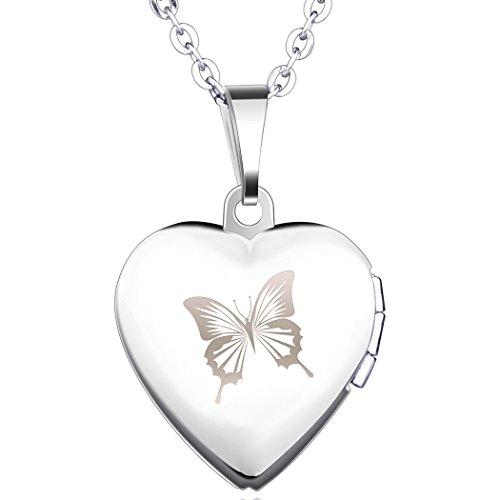 Yumilok Edelstahl Schmetterling Foto Medaillon zum Öffnen Photo Bilder Amulett Silberfarben Blau Herzanhänger Halskette Kettenanhänger für Damen Mädchen