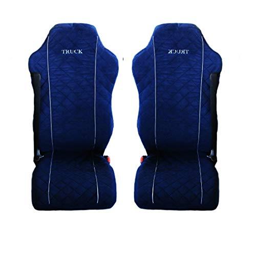 LKW-Sitzbezüge, passend für MAN TGX TGA TGL TGM TGS Mikrofaser, dunkelblau, 2 Stück