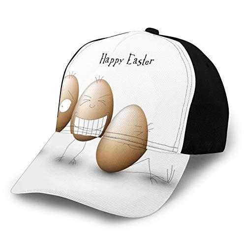 Gorra de béisbol para papá de tamaño ajustable para correr entrenamientos y actividades al aire libre, dibujos animados divertidos huevos estilo Doodle expresión facial personajes alegres