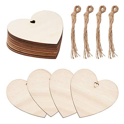 Craftdady 10 adornos de madera con forma de corazón, confeti de madera, adornos con cordón de cáñamo para álbumes de recortes, manualidades, regalos personalizados, decoración de bodas y fiestas