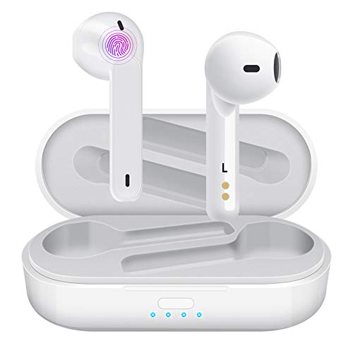 Auriculares Inalámbricos Aoslen Auriculares Bluetooth 5.1 Ipx5 Impermeables Estéreo Micrófono HiFi Control Táctil para Xiaomi Samsung Huawei Android(Blanco)