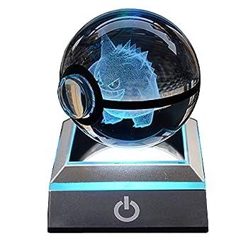 3D Crystal Ball Night Light LED Anime Table lamp  USB Touch 7 Color Change Light for Kids Bedroom 6CM Ball  Geng