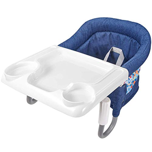Mosbaby Baby Tischsitz mit Transporttasche + Tablett, Faltbarer Babysitz Hochstuhl für Esstisch, Rutschfester Stuhlsitz zum Befestigen am Tisch, Gepolsterter Tischstuhl für zu Hause, Unterwegs