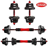 CCLIFE 2 in 1 Dumbbell & Barbell Set with Handle Adjustable Dumbbells Weights for Home Gym Exercise, Colour:with connector 2 x 10 KG, black
