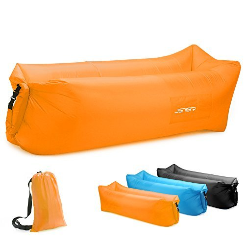 JSVER Inflatable Lounger Air Sofa with Portable Package for Outdoor, Camping, Hiking, Beach Parties, Picnic, Backyard, Lakeside (Orange)