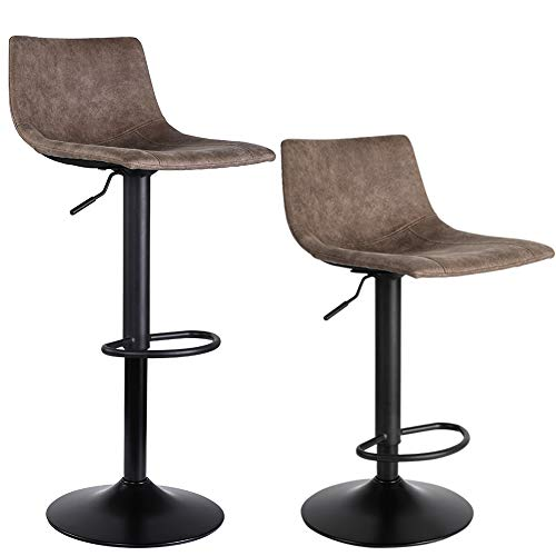 SUPERJARE Set of 2 Bar Stools, Swivel Barstool Chairs with Back, Modern Pub Kitchen Counter Height,...