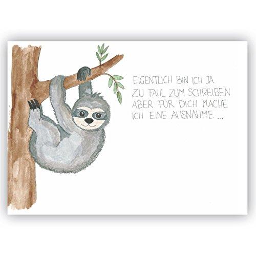 Postkarte Faultier - Eigentlich bin ich ja zu faul zum Schreiben - Freundschaft, liebe lustige Postkarte Vermissen, Genesungswünsche, Gute Besserung, Genesung, Viele Grüße, Humor, für Freunde Partner