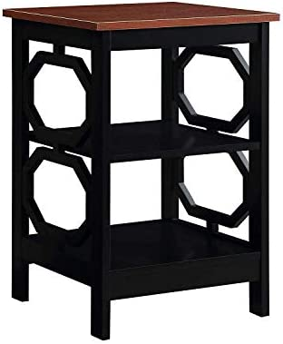 Best Convenience Concepts Omega End Table, Cherry Top / Black Frame