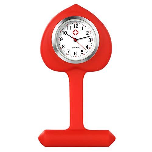 Lancardo Reloj Enfermera con Cubierta Silicona en Forma de Corazón Reloj de Bolsillo Médico de Heart Shape de Movimiento Cuarzo NO Impermeable Reloj Rojo con Dial de Báscula Digital