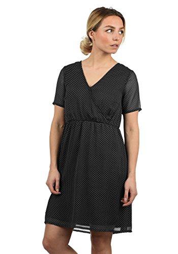 BlendShe Charlotte Damen Freizeitkleid Kleid Mit V-Ausschnitt Knielang, Größe:XL, Farbe:Black dot (20102)