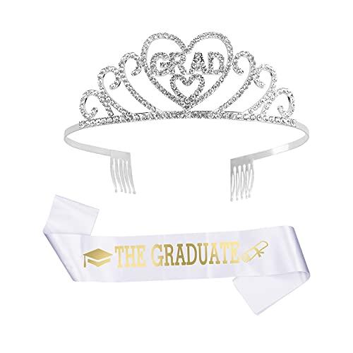 CINMOK Bandas Graduacion, Tiara Fiesta GRAD, Decoración Graduada, Diadema Diamante Corona Grad Faja THE GRADUATE Adorno Oranamento Disfraz Ceremonia Universitaria Escuela Primaria Estudiante Unisex.