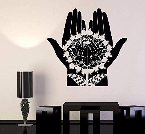 Blumen Vinyl Wandtattoo Mehndi Dekoration Schönheit Hände Henna Lotus Aufkleber Abnehmbare Yoga Zimmer Wohnkultur 75X73Cm