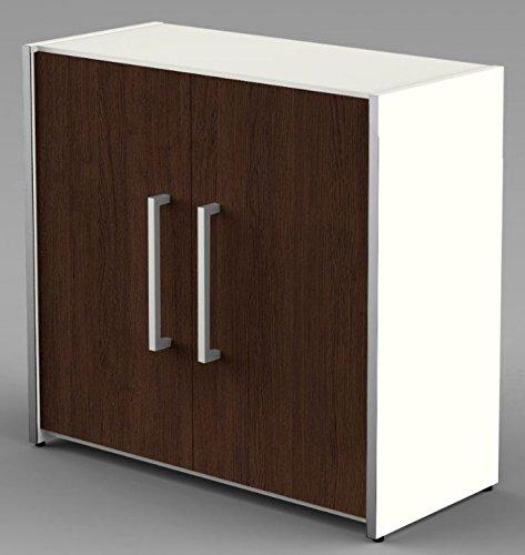 Form 4 Aktenschrank 2 OH Büroschrank Schrank Sideboard Weiß/Wenge