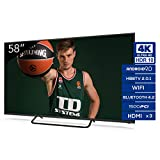 Televisiones Smart TV 58 Pulgadas 4k UHD Android 9.0 y HBBTV, 1500 PCI Hz, 3X HDMI, 2X USB....