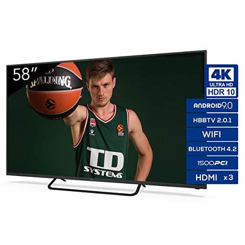 TD Systems K58DLX11US - Televisores Smart TV 58 Pulgadas 4k UHD Android 9.0 y HBBTV, 1500 PCI Hz, 3X HDMI, 2X USB. DVB-T2 C S2, Modo Hotel. Televisiones