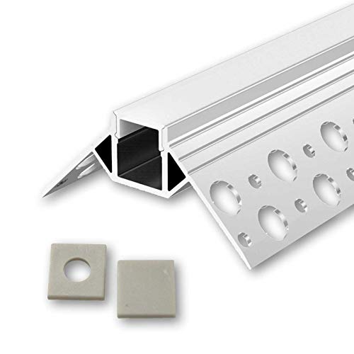 GIPA U-Profil Aluminium LED eloxiert | L - 2m x B - 1,3cm x H - 1,08cm | Alu Kanal für LED Streifen + Acryl Abdeckung milchig-weiß + 2x Endkappen | Aluprofil für Stripes bis 10mm Breite + belastbar