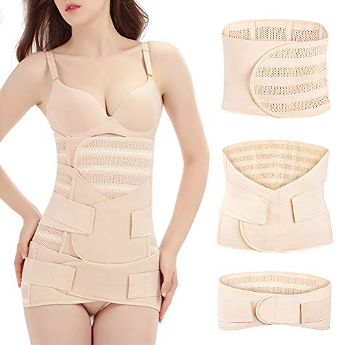 Vathery 3 in 1 Postpartum Belt Support, Elasticity Girdle Belly Wrap Postnatal Waist Shaper Pelvis Recovery Band