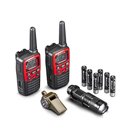 Midland, Kit EK30, incluye 2 Walkie Talkie XT30 con 5 h de autonomía, silbato de emergencia y alarma multifunción, linterna LED