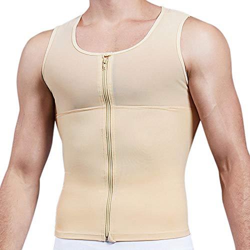 chuanglanja Herren Slimming Body Shaper Brust Kompressionshemd Gynäkomastie Moobs Unterhemd Taille Trainer Schweißweste Workout Tank Tops-M