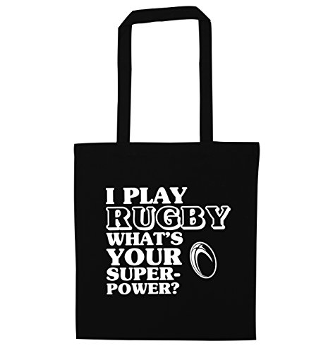 Flox Creative Tote Bag Play Rugby What Your Superpower Nero Taglia unica