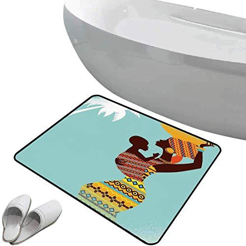 Alfombra de baño antideslizante Decoración afro suave antideslizante Madre africana con su bebé en ropa étnica Imagen de moda de estilo retro,Merigold turquesa Para ducha Felpudo Dormitorio Sala de es